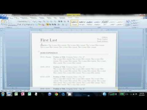 How to make a resume on Microsoft word