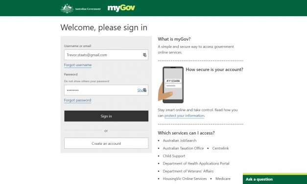 Create account or Login to myGov